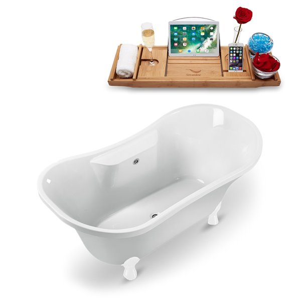 Streamline Freestanding Oval Bathtub and Tray - 34-in x 68-in - Glossy White Acrylic