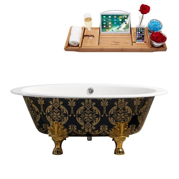 Streamline Freestanding Oval Bathtub - 35-in x 65-in - Green and Gold Cast Iron