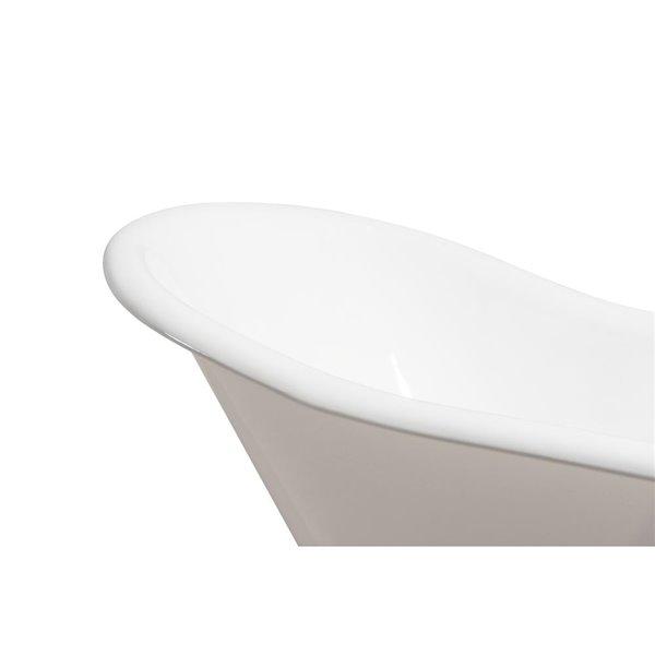 Baignoire de trempage en fonte sur pattes ovale de Streamline, drain réversible, 30 po x 67 po, blanc lustré
