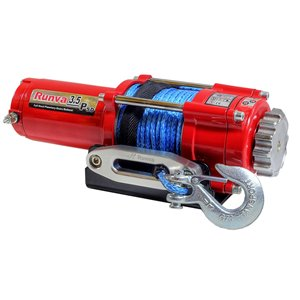 Runva Electric Winch with Synthetic Rope - 12 V - 3,500-lb - 3.2 HP Motor