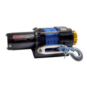 Treuil électrique avec corde synthétique de Runva, 12 V, 2 500 lb, moteur de 2,6 hp