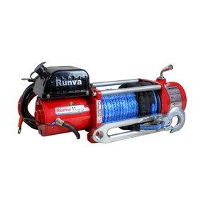 Treuil électrique avec corde synthétique de Runva, 12 V, 16 000 lb, moteur de 6,5 hp