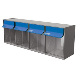 Tilt Bin G2 d'Ideal Security, 4 bacs, gris/bleu