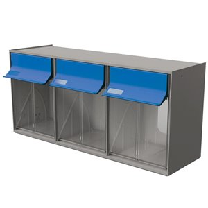 Tilt Bin G2 d'Ideal Security, 3 bacs, gris/bleu