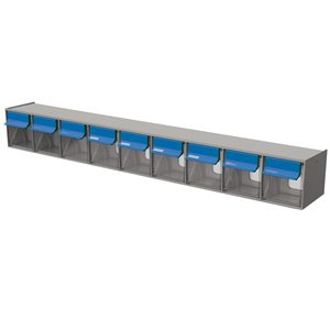 Tilt Bin G2 d'Ideal Security, 9 bacs, gris/bleu