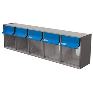 Tilt Bin G2  d'Ideal Security, 5 bacs, gris/bleu