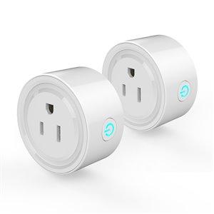 Prise de courant intelligente Wi-Fi de Wexstar, blanc, 2 pièces