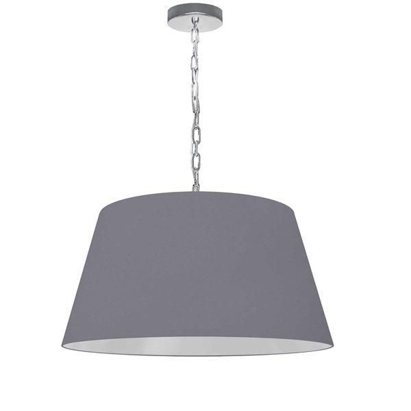 Dainolite Brynn Pendant Light - 1-Light - 20-in x 10-in - Polished Chrome/Grey
