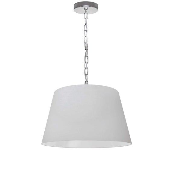 Luminaire suspendu à 1 lumière Brynn de Dainolite, 14 po x 7 po, chrome poli/blanc