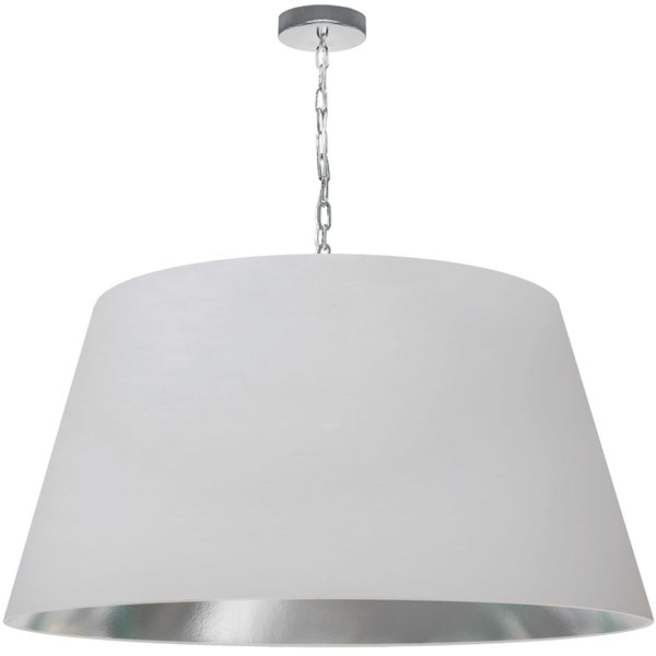 Dainolite Brynn Pendant Light - 1-Light - 32-in x 16-in - Polished Chrome/White and Silver