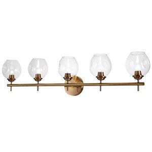Dainolite Abii Vanity Light - 5-Light - 34.1-in - Vintage Bronze and Clear Glass
