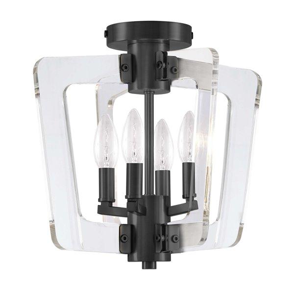 Semi-plafonnier à 4 lumières de Dainolite, 14 po, noir mat et acrylique transparent