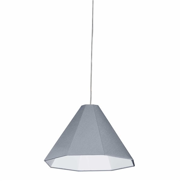 Dainolite Signature Pendant Light - 1-Light - 15-in x 11-in - Polished Chrome/Grey