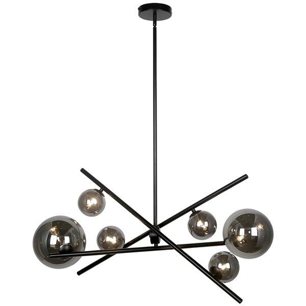 Dainolite Pamela Pendant Light - 6-Light - 27-in x 14-in - Matte Black