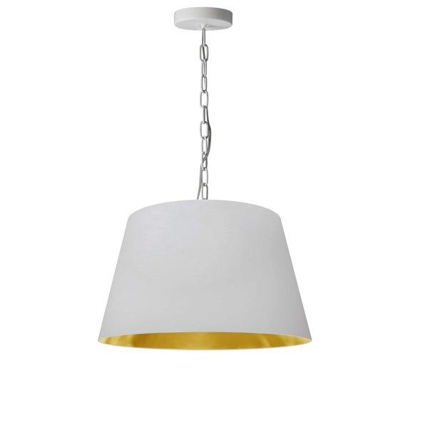 Luminaire suspendu à 1 lumière Brynn de Dainolite, 14 po x 7 po, blanc et or