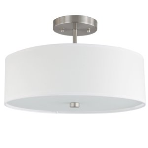 Dainolite Semi-Flush Mount Light - 3-Light - 12.25-in - Satin Chrome with White Shade