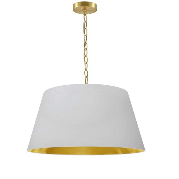Dainolite Brynn Pendant Light - 1-Light - 20-in x 10-in - Aged Brass/White and Gold