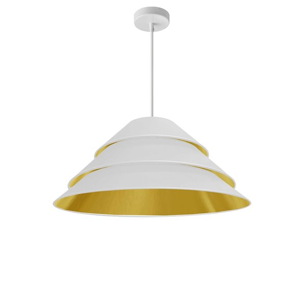 Dainolite Aranza Pendant Light - 1-Light - 26-in x 11.5-in - White