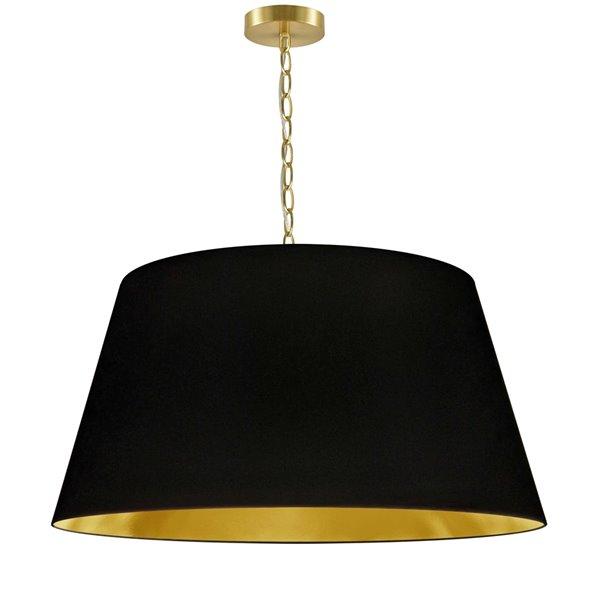 Dainolite Brynn Pendant Light - 1-Light - 26-in x 13-in - Aged Brass/Black and Gold