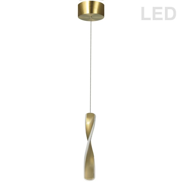 Dainolite Finn Pendant Light - 1-Light - 2-in x 12-in - Aged Brass