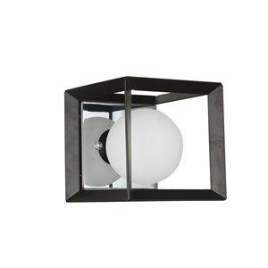 Dainolite Signature Vanity Light - 1-Light - 6-in - Black and Polished Chrome