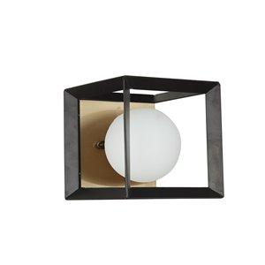 Dainolite Signature Vanity Light - 1-Light - 6-in - Black and Aged Brass