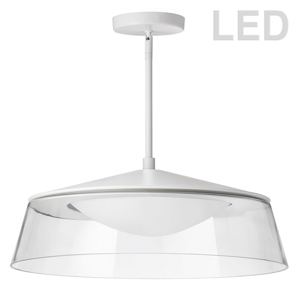 Dainolite Signature Pendant Light - 1-Light - 18-in x 6.1-in - Matte White