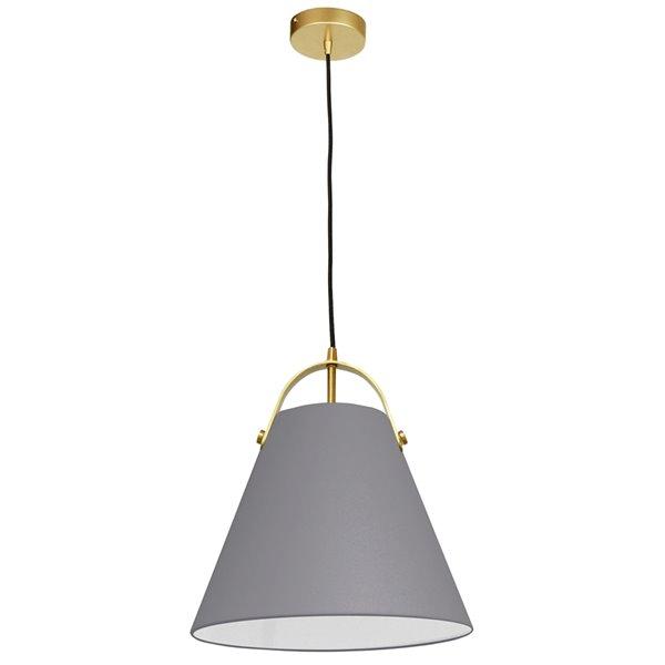 Luminaire suspendu à 1 lumière Emperor de Dainolite, 13 po x 11 po, laiton vieilli/gris