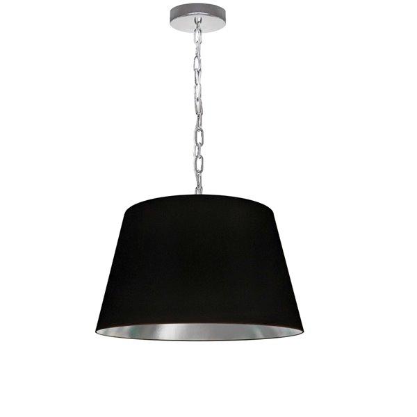 Dainolite Brynn Pendant Light - 1-Light - 14-in x 7-in - Polished Chrome/Black and silver
