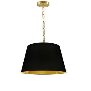 Luminaire suspendu à 1 lumière Brynn de Dainolite, 14 po x 7 po, laiton vieilli/noir et or