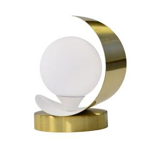 Lampe de table Crescent de Dainolite, 1 lumière, 7 po, laiton vieilli