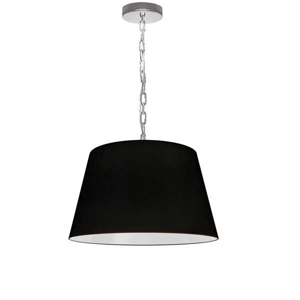 Dainolite Brynn Pendant Light - 1-Light - 14-in x 7-in - Polished Chrome/Black