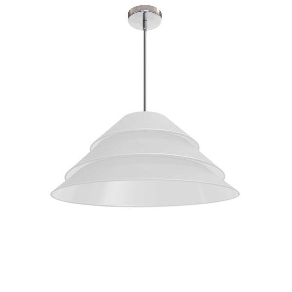 Luminaire suspendu à 1 lumière Aranza de Dainolite, 26 po x 11,5 po, chrome poli/blanc