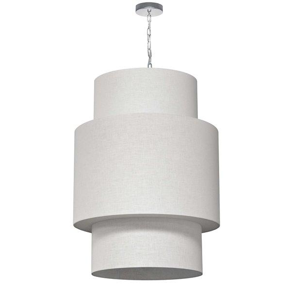 Luminaire suspendu à 7 lumières Shelley de Dainolite, 24 po x 32 po, chrome poli/blanc