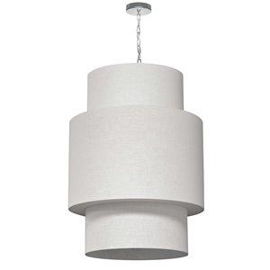 Dainolite Shelley Pendant Light - 7-Light - 24-in x 32-in - Polished Chrome/White