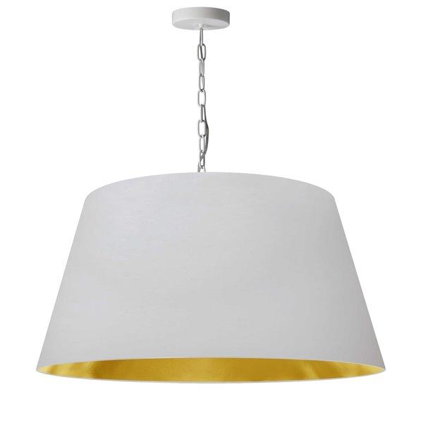 Dainolite Brynn Pendant Light - 1-Light - 26-in x 13-in - White and Gold