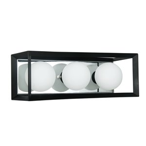 Dainolite Signature Vanity Light - 3-Light - 16-in - Black and Polished Chrome
