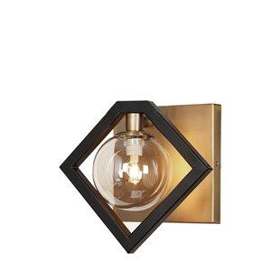 Applique murale à 1 lumière Glasglow de Dainolite, 9 po, noir mat et bronze vintage