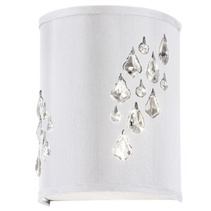 Dainolite Rhiannon Wall Sconce - 2-Light - 6-in - Polished Chrome and White