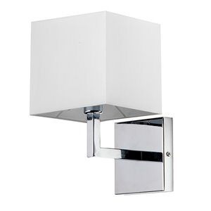 Dainolite Signature Wall Sconce - 1-Light - 6-in - Polished Chrome and White