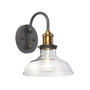 Dainolite Signature Wall Sconce - 1-Light - 8-in - Black and Antique Brass