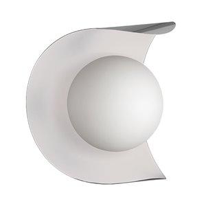 Dainolite Crescent Wall Sconce - 1-Light - 6.13-in - Satin Chrome/Matte White