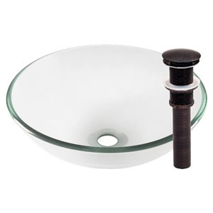 Novatto Bonificare Round Vessel Sink - 16.5-in - Clear Glass/Oil Rubbed Bronze