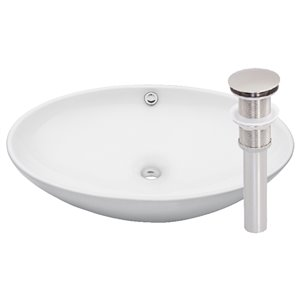 Novatto Bianco Uovo Oval Vessel Sink - 24.75-in - White/Brushed Nickel