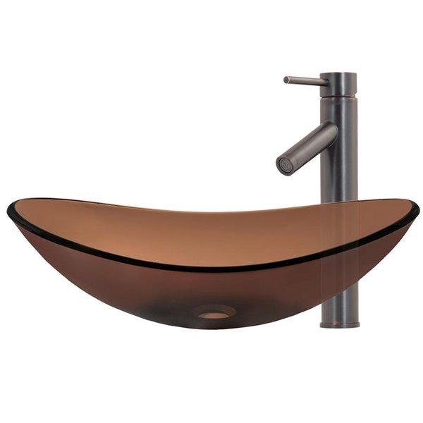 Novatto Best Value Oval Vessel Sink - 15-in - Brown Glass/Oil Rubbed Bronze Drain