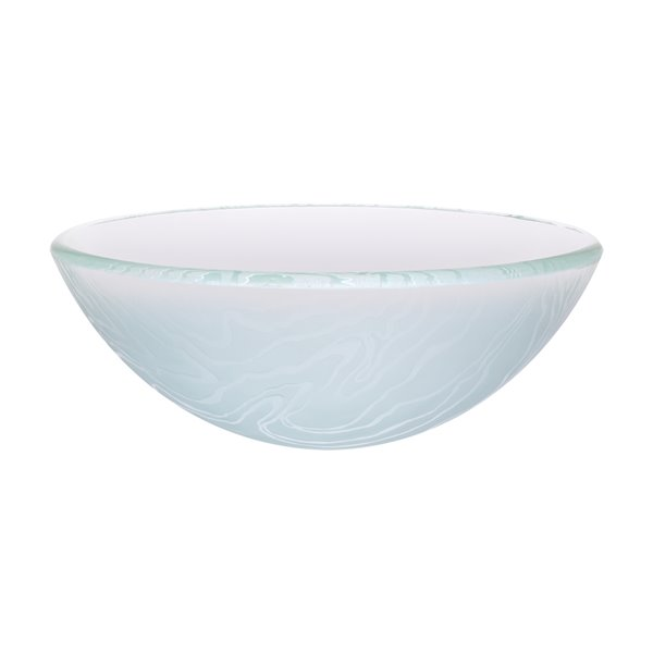 Novatto Gelo Round Vessel Sink - 16.5-in - Frosted Glass/Oil Rubbed Bronze
