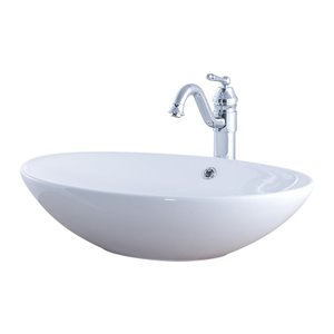 Novatto Porcelain Oval Vessel Sink - 24.75-in - White/Chrome Drain