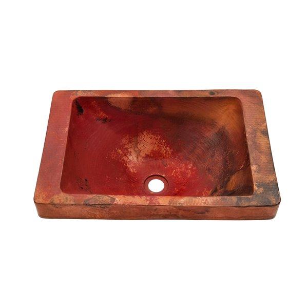 Novatto Santa Cruz Rectangular Drop-In Sink - 14-in - Natural Copper/Oil Rubbed Bronze