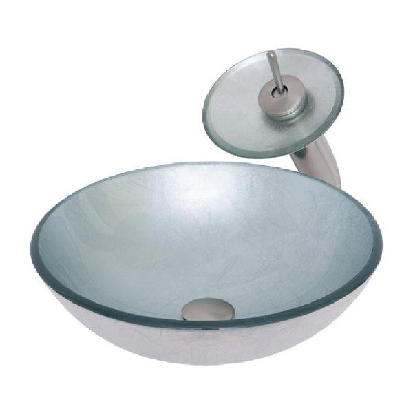 Novatto Argento Round Vessel Sink - 16-in - Silver Glass/Brushed Nickel