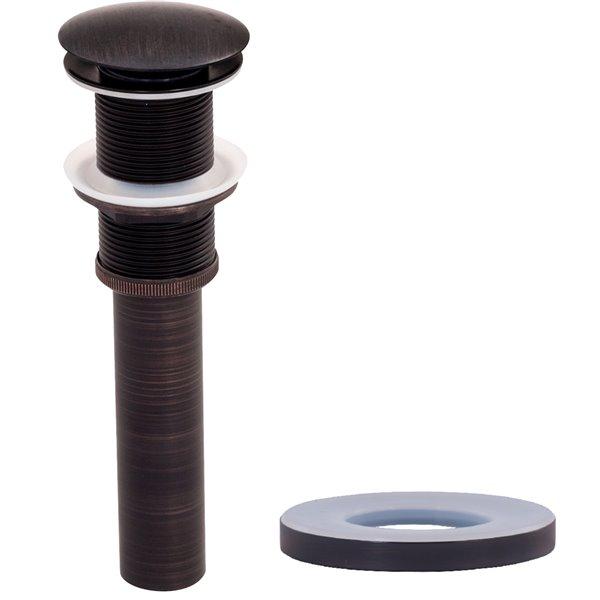 Novatto Glassia Round Vessel Sink - 16.5-in - Black Glass/Oil Rubbed Bronze